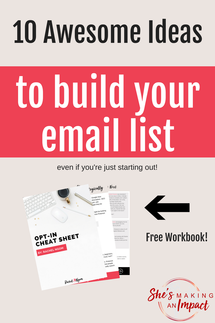 Are you actively building an email list? If not, it's time to start!You don't own Facebook or Instagram. What if one day your account was shut down? How will you reach your audience?You need an email list!In this post I'll share my top strategies that have built my list to over 20,000 subscribers! Repin and grab my free opt-in cheat sheet to help you get started! Blogging tips,  #shesmakinganimpact #pinterest #blogging #entrepreneur #girlboss #entrepreneurtips #bloggingtips