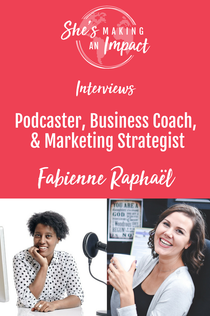 Want to host a podcast? Thinking about starting an online biz but feeling lost? In this interview with Fabienne Raphaël, we cover a lot….like:   How a podcast host stand out  How to land interviews with influencers The biggest mistakes to avoid when starting your online biz How to package your expertise to sell it online How to become the leading authority in your niche and a lot more!   Repin and grab your free cheat sheet to get more leads w/ Pinterest!