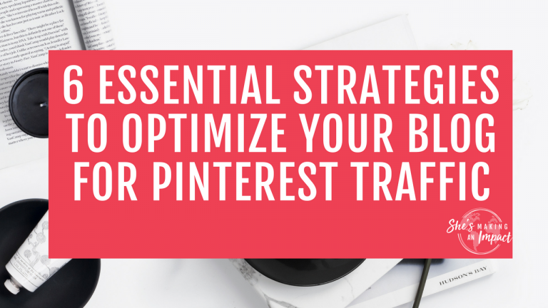 Want to learn how to optimize your blog for Pinterest traffic? You're in the right place! While other social media sites like Facebook and Instagram are seeing a decreased amount of traffic, Pinterest traffic is up! Increasing your traffic via Pinterest can be a beautiful thing if your blog is optimized for that Pinterest traffic. Otherwise, it's essentially a wasted opportunity! I don't want you to miss out on the amazingness that happens when you have Pinterest traffic and an optimized blog, so let's jump into my 6 tips. Repin and grab my free cheat sheet to get more leads w/ Pinterest! blogging tips, entrepreneur tips, how to make money online, social media strategy