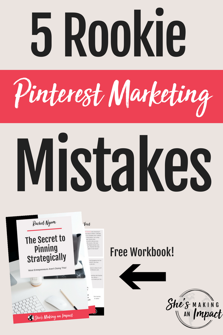 In this post, I\'ll share the most common Pinterest marketing mistakes I see most online business owners make. If you want to get more leads and sales, book more clients, and use Pinterest for business the right way, repin, read the post, and grab my free Pinterest cheat sheet to get more leads using Pinterest! #shesmakinganimpact #pinterest #blogging #entrepreneur #girlboss #entrepreneurtips #bloggingtips