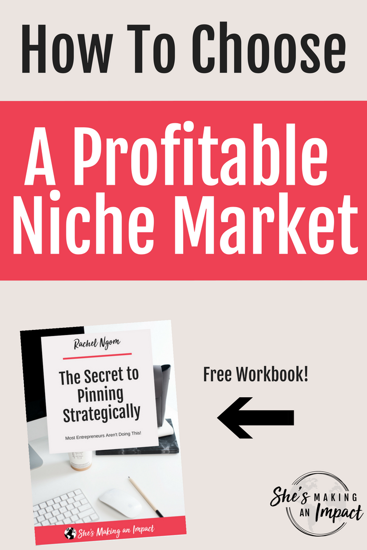 In this post, I'll share how to select a niche market for your business and give you some great ideas to niche down your website. When you select a niche market, you'll earn more money and become a more successful entrepreneur. Ready to dominate your niche market? Repin and grab my free cheat sheet to get more leads using Pinterest! #shesmakinganimpact #pinterest #blogging #entrepreneur #girlboss #entrepreneurtips #bloggingtips