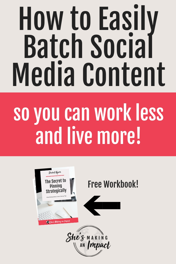 Want to learn my key strategy to social media content creation? In this post, I'll give you examples of how I create social media content for my business, my entire creation process, plus my social media content calendar! You'll see some solid examples of social media content that you can apply to your business. Repin and grab my free Pinterest cheat sheet so you can get more leads! #shesmakinganimpact #entrepreneur #entrepreneurtips #blogging #bloggingtips #socialmedia