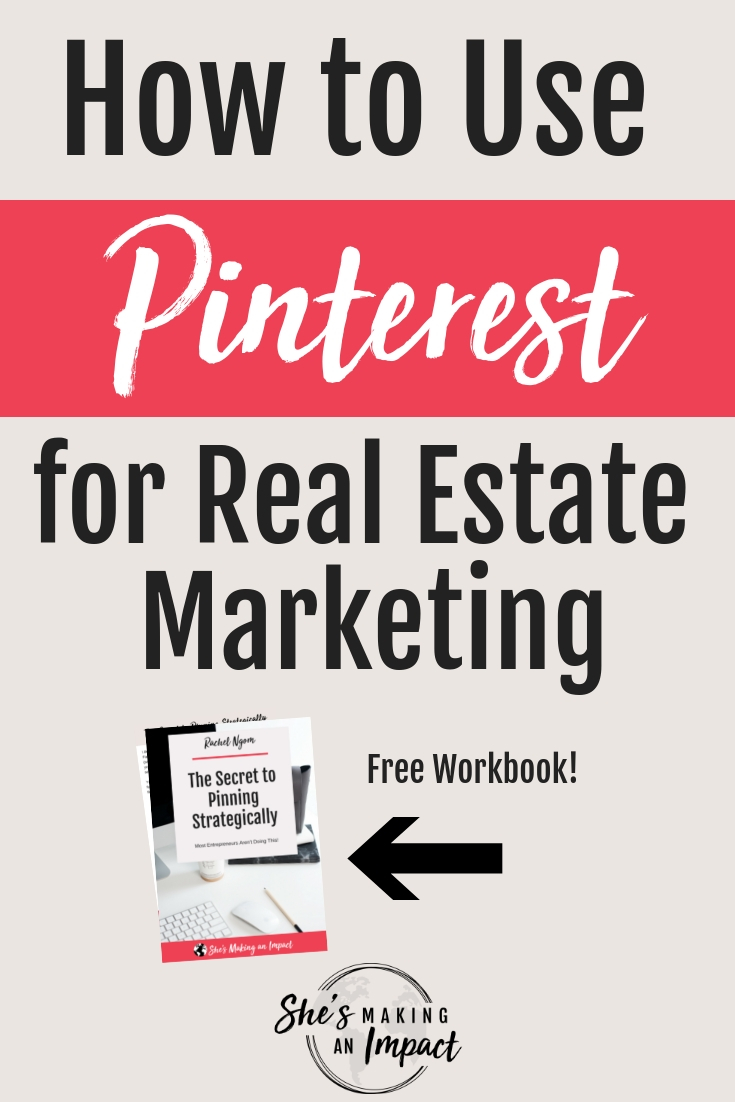 Want to learn how to use pinterest for real estate marketing? Pinterest is incredible platform to get a steady stream of new leads into your real estate business. If you want some expert tips and learn how to use pinterest for real estate marketing, then repin and grab my free pinterest cheat sheet. #shesmakinganimpact #pinterest #realestate #blogging #realestatemarketing #entrepreneur